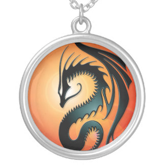 Black Tribal Dragon, red Silver Plated Necklace