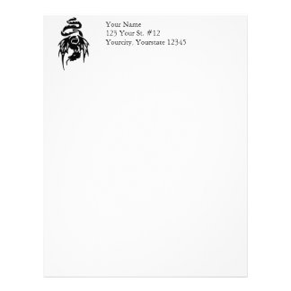 Black Tribal Dragon Tattoo with Spread Wings Personalized Letterhead