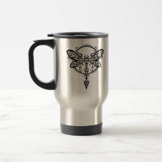 Black Tribal Dragonfly Travel Mug
