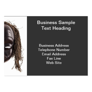 Black tribal face mask on isolated on white large business cards (Pack of 100)