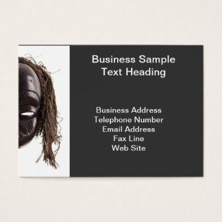 Black tribal face mask on isolated on white business card