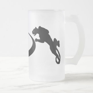 black tribal panthers frosted glass beer mug