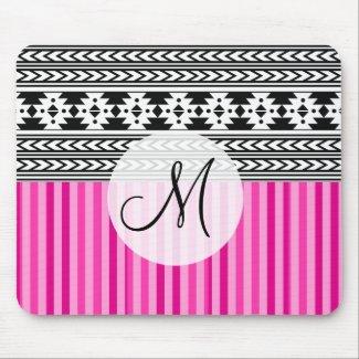 Black Tribal Pattern Pink Stripes Monogram Mouse Pad
