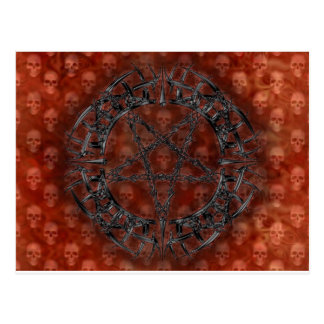 Black Tribal Pentagram Postcard