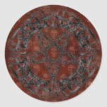 Black Tribal Pentagram Round Stickers
