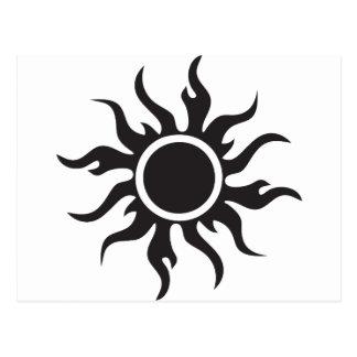 Black Tribal Sun Postcard