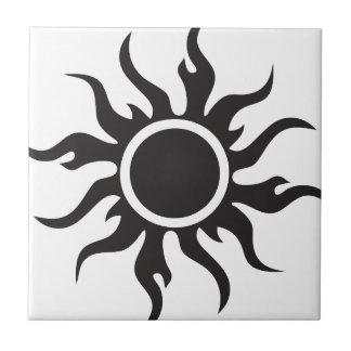 Black Tribal Sun Tile
