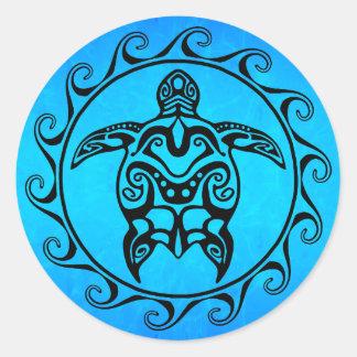 Black Tribal Turtle Classic Round Sticker