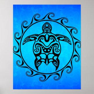 Black Tribal Turtle Poster