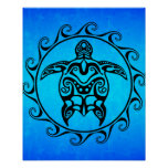 Black Tribal Turtle Print