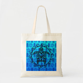 Black Tribal Turtle Tote Bag