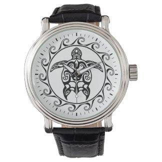 Black Tribal Turtle Wristwatches