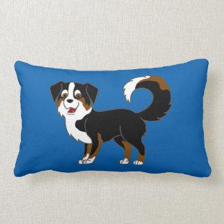 Black Tricolor Australian Shepherd Dog Lumbar Pillow