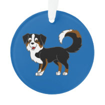 Black Tricolor Australian Shepherd Dog Ornament