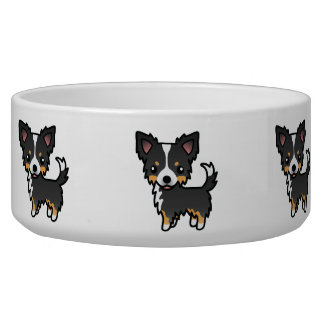Black Tricolor Long Coat Chihuahua Cartoon Dog Bowl
