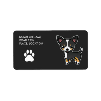 Black Tricolor Smooth Coat Chihuahua Cartoon Dog Label