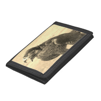 Black TriFold Nylon Wallet with Peregrine Falcon