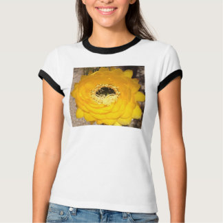 Black trim t shirt with yellow cactus flower