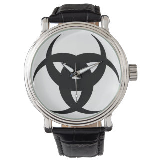 black triple cresent moon vintage strap watch