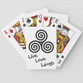 Black Triple spiral Live Love Laugh Deck Of Cards
