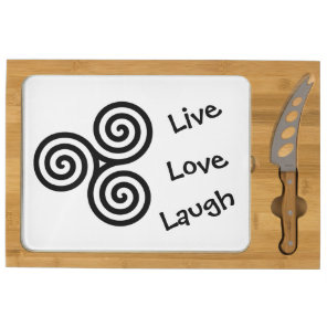 black Triple spiral Live Love Laugh on white Cheese Board