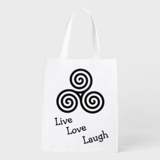black triple spiral live love laugh reusable grocery bag