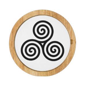 Black Triple spiral on white Cheese Platter