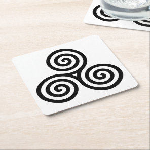 Black Triple spiral on white Square Paper Coaster