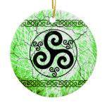 Black Triskellion Ceramic Ornament