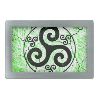 Black Triskellion Rectangular Belt Buckle