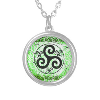 Black Triskellion Silver Plated Necklace