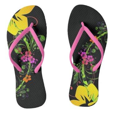 Beach Themed Black, tropical, hibiscus flipflops