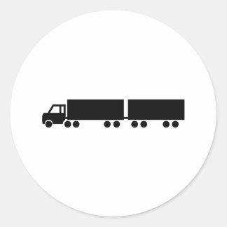 black truck trailer icon classic round sticker