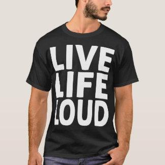 Black TShirt White Words Live Life Loud Subway Art