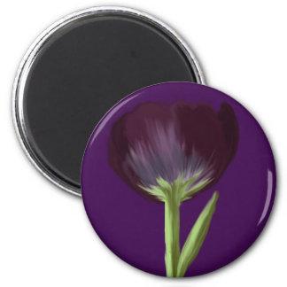 Black Tulip 2 Inch Round Magnet