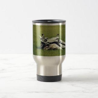 Black turnstones on driftwood mug