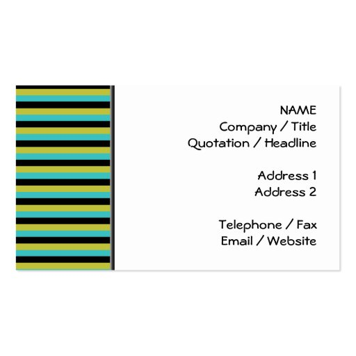 Black, Turquoise and Yellow Stripes. Business Cards