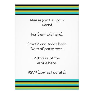 Black Turquoise and Yellow Stripes Custom Announcements