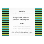Black, Turquoise and Yellow Stripes. Custom Invitation
