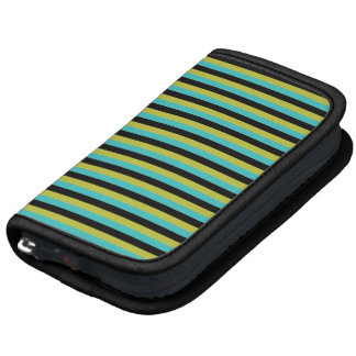Black Turquoise and Yellow Stripes Planner