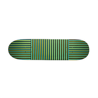 Black, Turquoise and Yellow Stripes. Skateboard