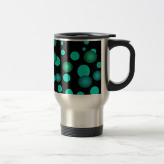 Black & Turquoise Aqua Polka Dots 3D Commuter Cup 15 Oz Stainless Steel Travel Mug