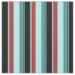 [ Thumbnail: Black, Turquoise, Aqua, Red, Light Sea Green Lines Fabric ]