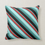 [ Thumbnail: Black, Turquoise, Aqua, Red, Light Sea Green Lines Throw Pillow ]