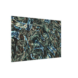 Black Turquoise Blue Green Teal Abstract Waves Canvas Print