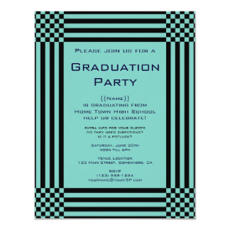 Black Turquoise Checkers Stripes Graduation Party Card