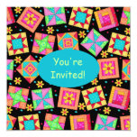 Black Turquoise Colorful Patchwork Quilt Block Art Personalized Invites