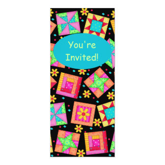 Black Turquoise Colorful Patchwork Quilt Block Art 4x9.25 Paper Invitation Card