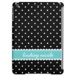 Black & Turquoise Cute Polka Dots Custom Monogram iPad Air Cases