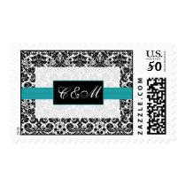 black turquoise Damask Wedding Postage